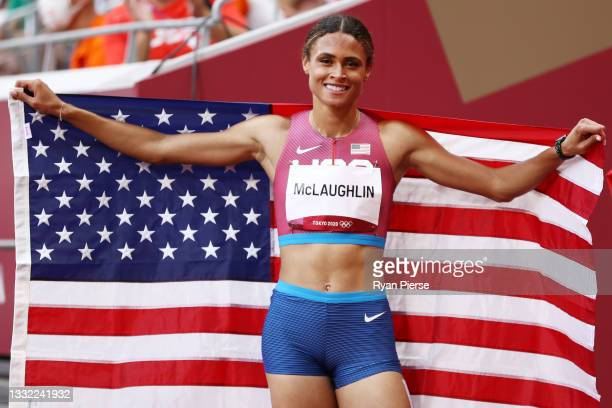 Gold medalist Sydney McLaughlin of Team United States celebrates after competing in the Women's 400m Hurdles Final on day twelve of the Tokyo 2020...