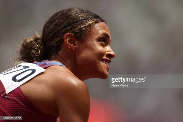 Gold medalist Sydney McLaughlin of Team United States looks on after competing in the Women's 400m Hurdles Final on day twelve of the Tokyo 2020...