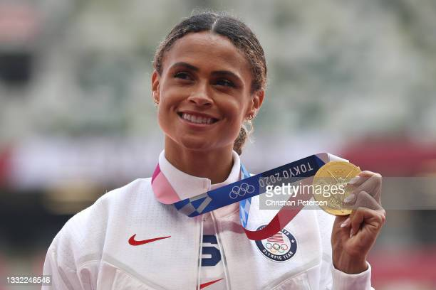 Gold medalist Sydney McLaughlin of Team United States poses during the medal ceremony for the Women's 400m Hurdles Final on day twelve of the Tokyo...
