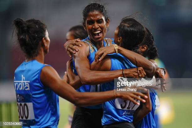 Gold medalist team of India celebrate after win the women's 4x400m relay on day twelve of the Asian Games on August 30 2018 in Jakarta Indonesia