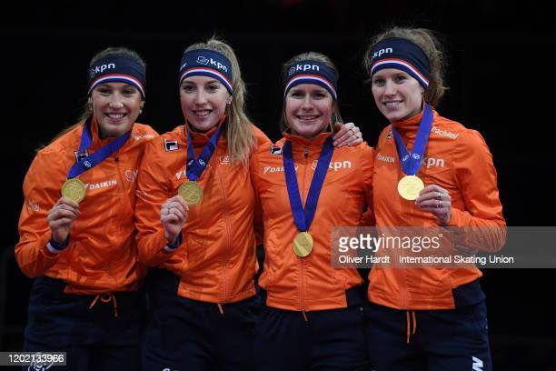 Gold medalist Team of the Netherland celebrate during the medal ceremony for the Ladies 3000m Relay final race during the ISU European Short Track...