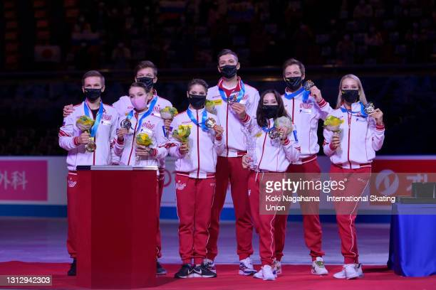 Gold medalist Team Russia pose at the medal ceremony on day three of ISU World Team Trophy at Maruzen Intec Arena Osaka on April 17, 2021 in Osaka,...
