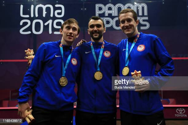 Gold medalist Team US in the podium of men's squash team Gold Medal on Day 5 of Lima 2019 Pan American Games at CAR Villa Deportiva Nacional on July...