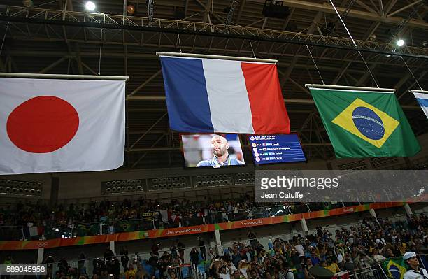 Gold medalist Teddy Riner of France poses during the medal ceremony in the Men 100kg category on day 7 of the 2016 Rio Olympic Games at Carioca Arena...