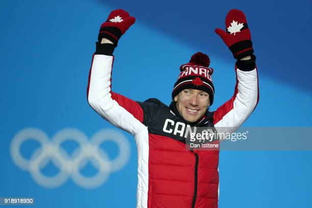 Gold medalist TedJan Bloemen of Canada celebrates during the Medal Ceremony for Speed Skating Men's 10000m on day seven of the PyeongChang 2018...