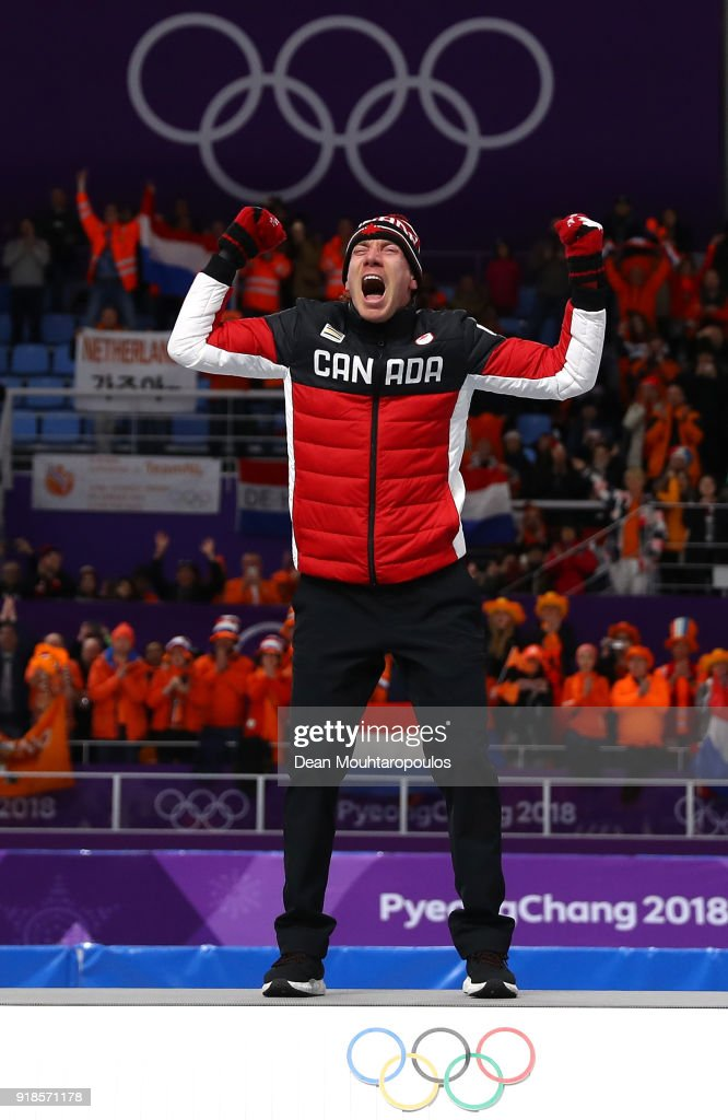 Gold medalist Ted-Jan Bloemen of Canada celebrates during the victory ceremony after the Speed Skating Men's 10,000m on day six of the PyeongChang 2018 Winter Olympic Games at Gangneung Oval on February 15, 2018 in Gangneung, South Korea.