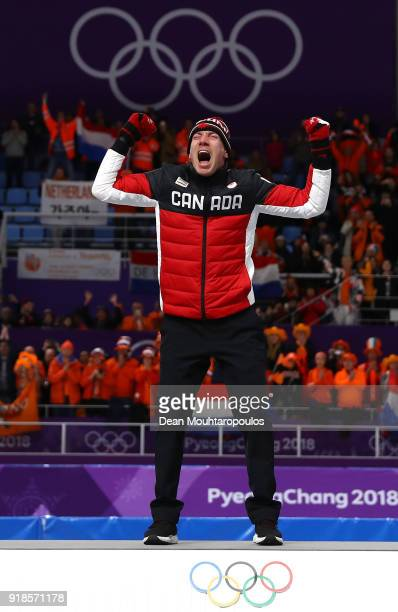 Gold medalist Ted-Jan Bloemen of Canada celebrates during the victory ceremony after the Speed Skating Men's 10,000m on day six of the PyeongChang...