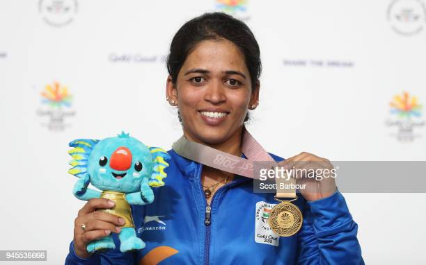 Gold medalist Tejaswini Sawant of India poses during the medal ceremony for the Women's 50m Rifle 3 Positions Final during the Shooting on day nine...