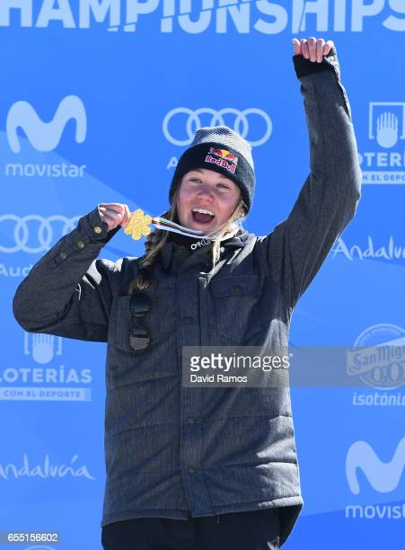Gold medalist Tess Ledeux of France poses during the medal cermony for the Women's Slopestyle final on day twelve of the FIS Freestyle Ski Snowboard...