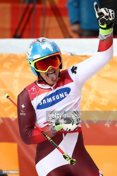 Gold Medalist Theo Gmur of Switzerland celebrates after he competes in the Men's Giant Slalom Run Standing at Alpensia Biathlon Centre on day five of...