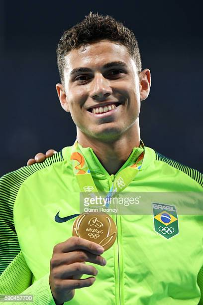 Gold medalist Thiago Braz da Silva of Brazil poses during the medal ceremony for the Men's Pole Vault Final on Day 11 of the Rio 2016 Olympic Games...