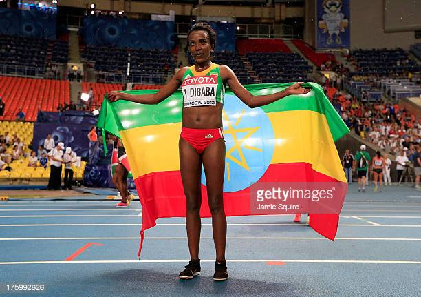 Gold medalist Tirunesh Dibaba of Ethiopia celebrates after the Women's 10000 final during Day Two of the 14th IAAF World Athletics Championships...