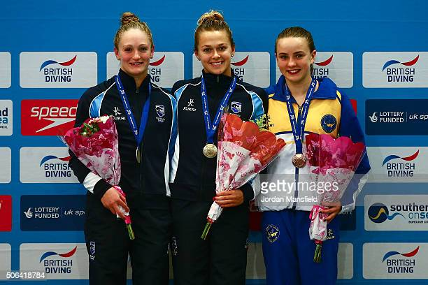 Gold medalist Tonia Couch of Plymouth Diving Silver Medalist Sarah Barrow of Plymouth Diving and Bronze Medalist Lois Toulson of City of Leeds Diving...