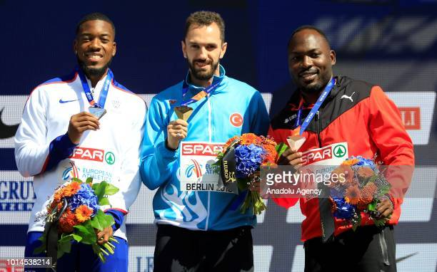 Gold medalist Turkish athlete Ramil Guliyev silver medalist British athlete Nethaneel MitchellBlake and bronze medalist Swedish athlete Alex Wilson...