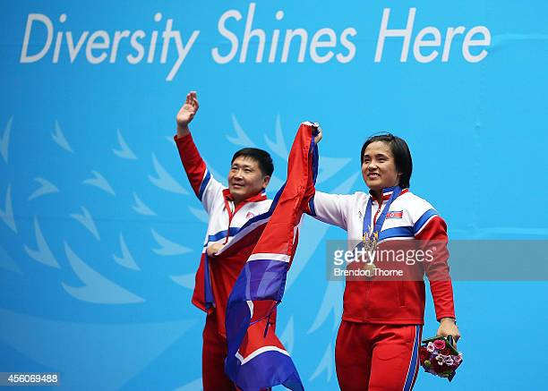 Gold medalist, Unju Kim of North Korea celebrates following the Women's 75kg Weightlifting Final during day six of the 2014 Asian Games at Moonlight...