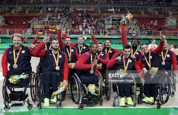Gold medalist USA celebrate on the podium at the medal ceremony after the Men's Wheelchair Basketball Gold Medal match between Spain and USA at...