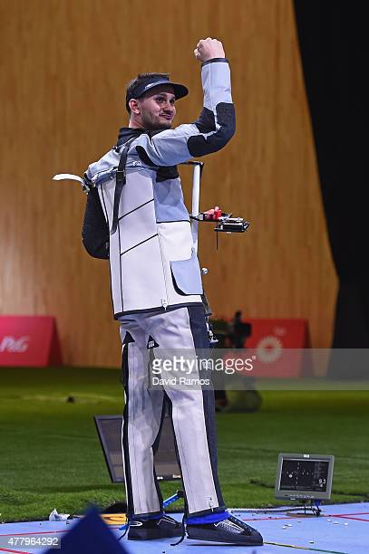 Gold medalist Valerian Sauveplane of France celebrates victory in the Men's Shooting 50m Rifle 3 Positions final on day nine of the Baku 2015...