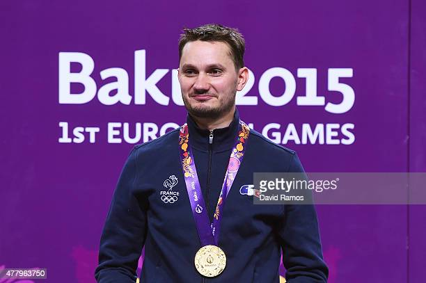 Gold medalist Valerian Sauveplane of France poses with the medal won in the Men's Shooting 50m Rifle 3 Positions final on day nine of the Baku 2015...