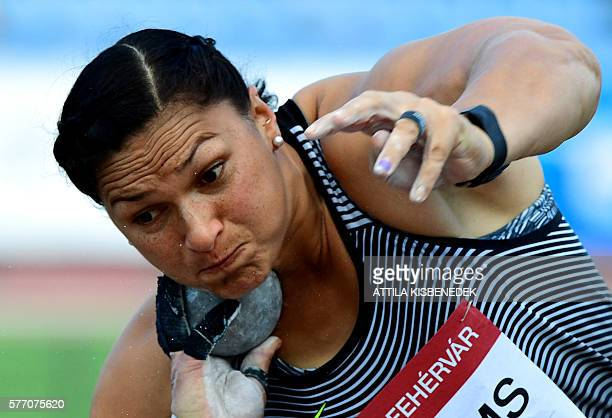 Gold medalist Valerie Adams of New Zealand competes during the women's Shot Put final of the Gyulai Istvan Memorial Hungarian Athletics Grand Prix at...