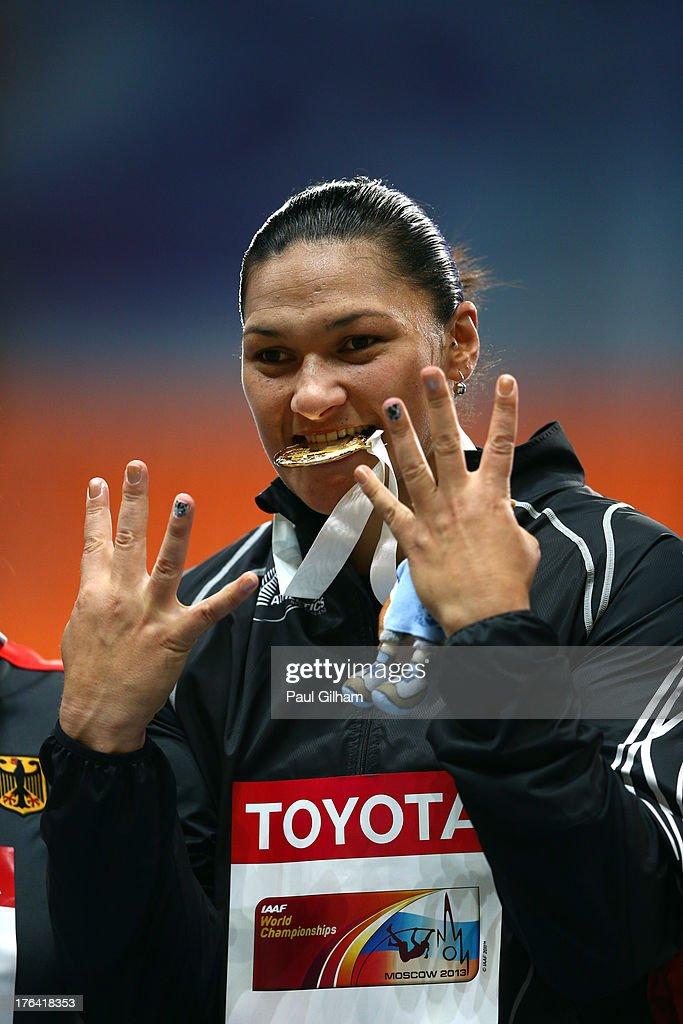 Gold medalist Valerie Adams of New Zealand on the podium during the medal ceremony for the Women's Shot Put during Day Three of the 14th IAAF World Athletics Championships Moscow 2013 at Luzhniki Stadium on August 12, 2013 in Moscow, Russia.
