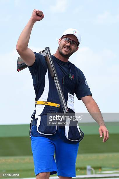 Gold medalist Valerio Luchini of Italy celebrates victory during the Men's Shooting Skeet final during day nine of the Baku 2015 European Games at...