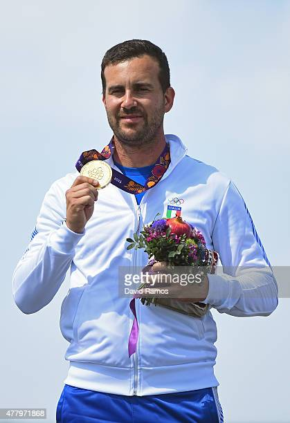 Gold medalist Valerio Luchini of Italy poses with the medal won during the Men's Shooting Skeet final on day nine of the Baku 2015 European Games at...