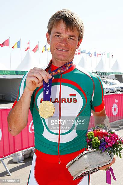 Gold medalist Vasil Kiryienka of Belarus poses with the medal won in the Men's Road cycling Individual Time trial during day six of the Baku 2015...