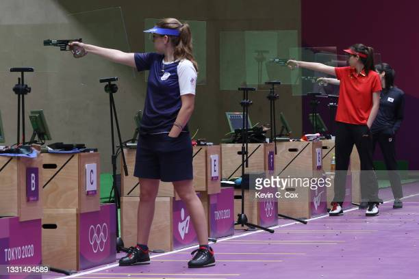 Gold Medalist Vitalina Batsarashkina, Bronze Medalist Jiaruixuan Xiao of Team China, and Silver Medalist Minjung Kim of Team South Korea compete in...