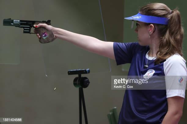 Gold Medalist Vitalina Batsarashkina competes in 25m Pistol Women's Finals on day seven of the Tokyo 2020 Olympic Games at Asaka Shooting Range on...