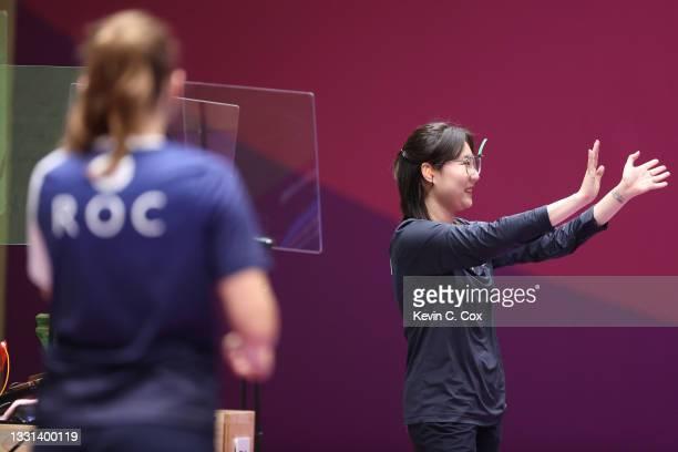 Gold Medalist Vitalina Batsarashkina of Team ROC and Silver Medalist Minjung Kim of Team South Korea following the 25m Pistol Women's Finals on day...