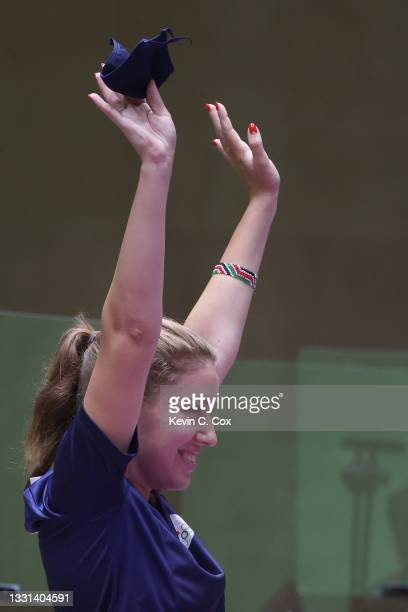 Gold Medalist Vitalina Batsarashkina of Team ROC celebrates following the 25m Pistol Women's Finals on day seven of the Tokyo 2020 Olympic Games at...