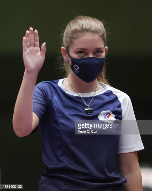 Gold Medalist Vitalina Batsarashkina of Team ROC following the 25m Pistol Women's Finals on day seven of the Tokyo 2020 Olympic Games at Asaka...