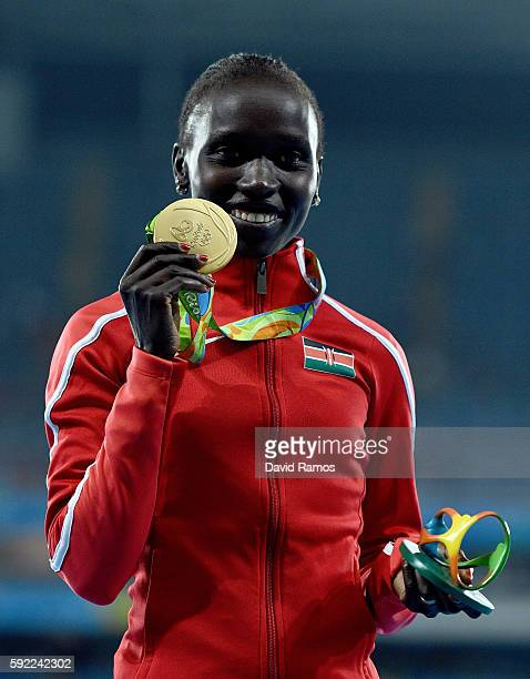 Gold medalist, Vivian Jepkemoi Cheruiyot of Kenya, poses on the podium during the medal ceremony for the Women's 5000m on Day 14 of the Rio 2016...