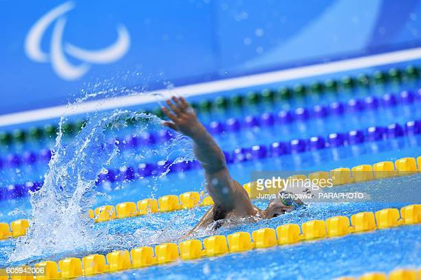 Gold medalist Wenpan Huang of China competes in the Men's 200m Freestyle S3 Final on day 8 of the Rio 2016 Paralympic Games at Olympic Aquatics...