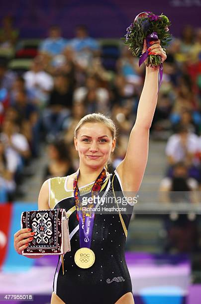 Gold medalist Yana Pavlova of Russia stands on the podium during the medal ceremony for the Women's Trampoline final on day nine of the Baku 2015...