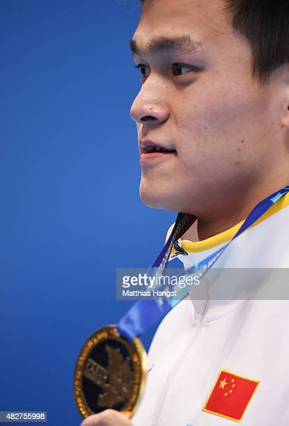 Gold medalist Yang Sun of China poses during the medal ceremony for the Men's 400m Freestyle Final on day nine of the 16th FINA World Championships...