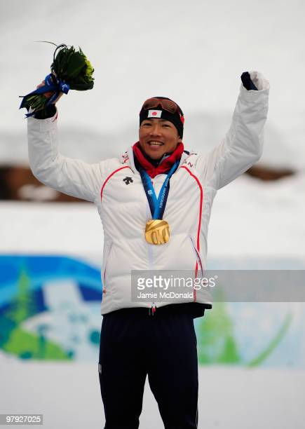 Gold medalist Yoshihiro Nitta of Japan celebrates at the medal ceremony for the Men's 1km Standing CrossCountry Sprint during Day 10 of the 2010...