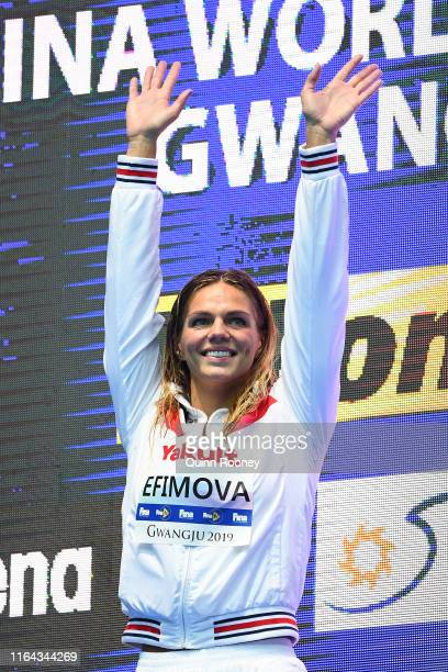 Gold medalist Yulia Efimova of Russia poses during the medal ceremony for the Women's 200m Breaststroke Final on day six of the Gwangju 2019 FINA...