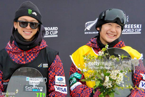 Gold medalist Yuto Totsuka and silver medalist Ayumu Hirano of Japan pose on the podium after the Winter Games NZ FIS Men's Snowboard World Cup...