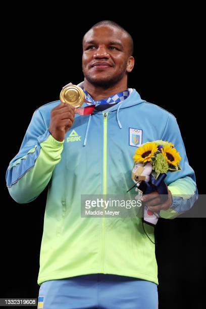 Gold medalist Zhan Beleniuk of Team Ukraine poses with the gold medal during the Men's Greco-Roman 87kg medal ceremony on day twelve of the Tokyo...