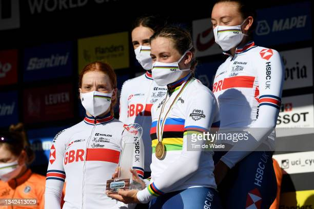 Gold medalist Zoe Backstedt of Great Britain and teammates celebrate third placed on the podium during the Nations cup women junior qualification...