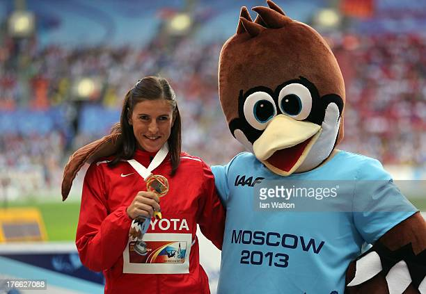 Gold medalist Zuzana Hejnova of the Czech Republic on the podium during the medal ceremony for the Women's 400 metres hurdles during Day Seven of the...