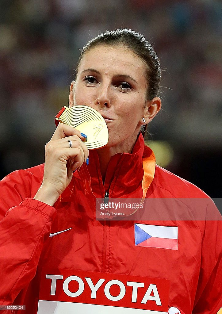 Gold medalist Zuzana Hejnova of the Czech Republic poses on the podium during the medal ceremony for the Women's 400 metres hurdles final during day five of the 15th IAAF World Athletics Championships Beijing 2015 at Beijing National Stadium on August 26, 2015 in Beijing, China.