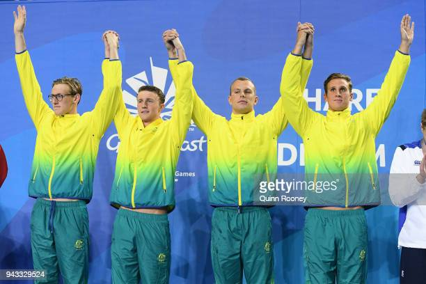 Gold medalists Alexander Graham Kyle Chalmers Elijah Winnington and Mack Horton of Australia pose during the medal ceremony for the Men's 4 x 200m...