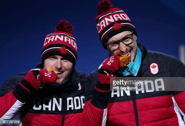 Gold medalists Alexander Kopacz and Justin Kripps of Canada celebrate during the medal ceremony for Bobsleigh 2man on day 11 of the PyeongChang 2018...