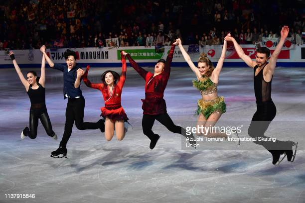Gold medalists Alina Zagitova of Russia Nathan Chen of the United States Wenjing Sui and Cong Han of China Gabriella Papadalos amd Guillaume Cizeron...