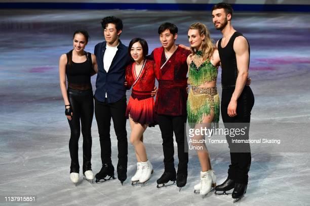 Gold medalists Alina Zagitova of Russia, Nathan Chen of the United States, Wenjing Sui and Cong Han of China, Gabriella Papadalos amd Guillaume...