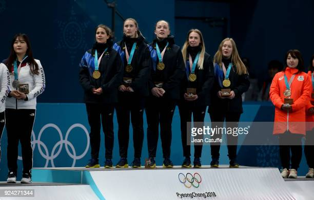 Gold medalists Anna Hasselborg Sara McManus Agnes Knochenhauer Sofia Mabergs Jennie Waahlin of Sweden celebrate during the victory ceremony following...