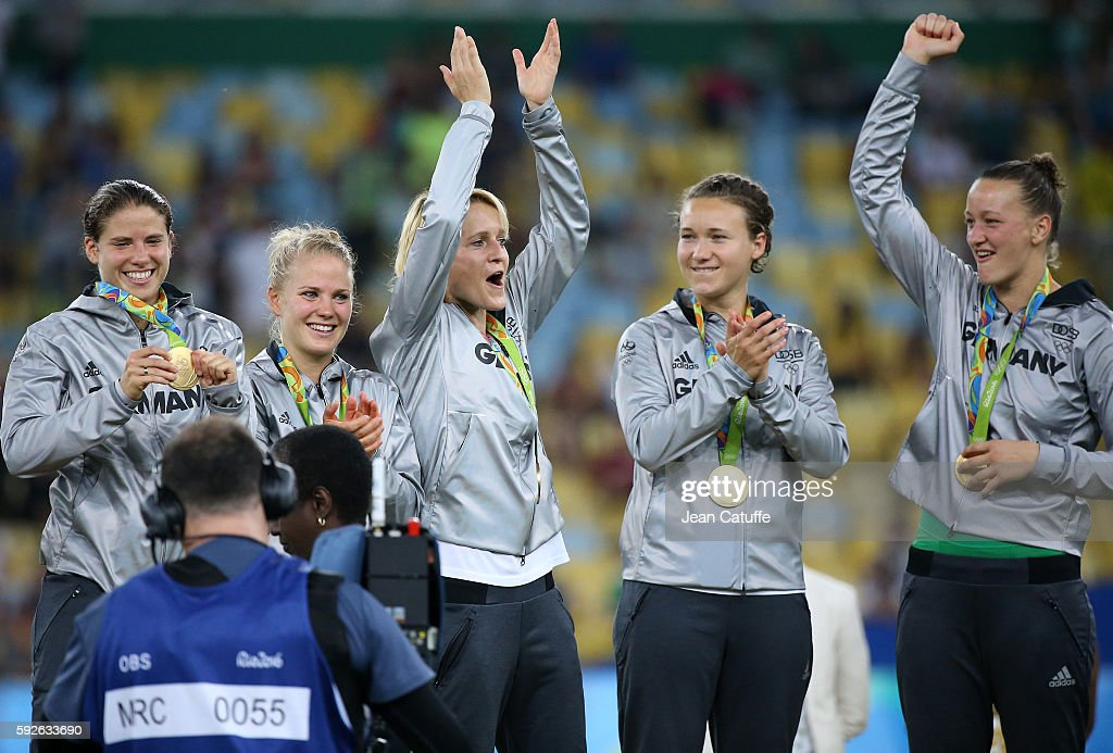 Gold medalists Annike Krahn, Leonie Maier, Saskia Bartusiak, Josephine Henning and Almuth Schult of Germany pose during the medal ceremony for the Women's Soccer Final between Germany and Sweden at Maracana Stadium on August 19, 2016 in Rio de Janeiro, Brazil.