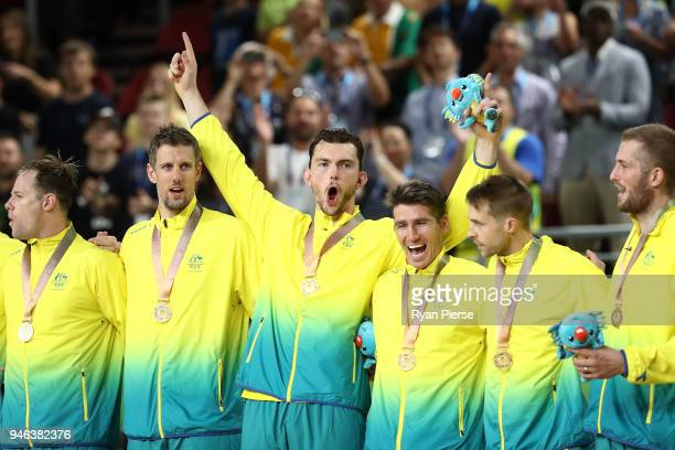 Gold medalists Australia pose during the medal ceremony for the Men's Gold Medal Basketball Game between Australia and Canada on day 11 of the Gold...